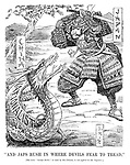 """And Japs Rush in Where Devils Fear to Tread."" [The term ""foreign devils,"" as used by the Chinese, is not applied to the Japanese.] (cartoon showing a Japanese Samurai about to chop off the head of the Chinese Nationalist dragon during the InterWar era)"