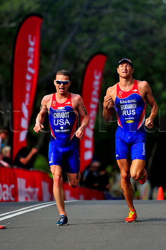 11th April 2010, Elite Mens  Dextron Energy Triathlon, Sydney, Australia. Matt Chrabot (USA) and 2nd place Alexander Brukhankov (RUS) in action. ..