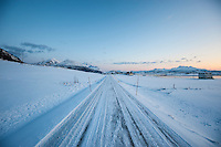 Winter road at dawn, Vestvågøy, Lofoten Islands, Norway