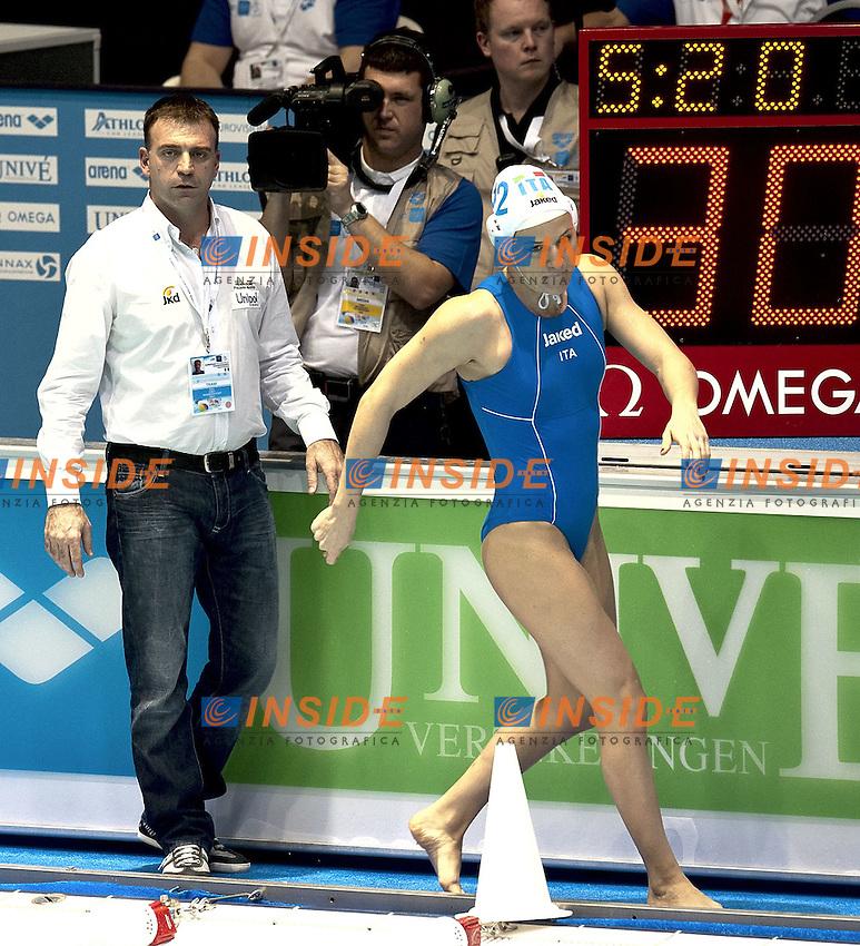 Eindhoven , Netherlands (NED) 20/1/2012.LEN European  Water Polo Championships 2012.Day 05 - Women.Italia (White) - Spain (Blue).Italia Coach Fabio Conti.12 Teresa FRASSINETTI.Photo Insidefoto / Giorgio Scala