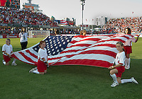 The flag of the United States of America during the opening ceremonies in an MLS game between the Seattle Sounders FC and the Toronto FC at BMO Field in Toronto on June 18, 2011..The Seattle Sounders FC won 1-0.