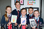 Sarah Egan, Brian Shanahan, Lorcan Ryan, Christopher Egan, and Eimear O'Sullivan Ardfert NS with their greeting cards they made for their Junior Entrepreneur project finals at the Malton Hotel on Wednesday