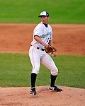 22 June 2009: Vermont Lake Monsters' pitcher Evan Bronson warms up prior to facing the Tri-City ValleyCats at Historic Centennial Field in Burlington, Vermont. The Lake Monsters defeated the visiting ValleyCats 5-4 in extra innings. Mandatory Photo Credit: Ed Wolfstein Photo
