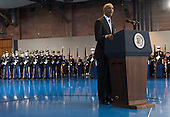 United States President Barack Obama speaks during his Armed Forces Full Honor Review Farewell Ceremony at Joint Base Myers-Henderson Hall, in Virginia on January 4, 2017. The five braces of the military honored the president and vice-president for their service as they conclude their final term in office.<br /> Credit: Kevin Dietsch / Pool via CNP