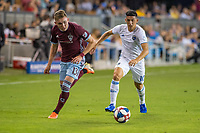 SAN JOSÉ CA - JULY 27: Cristian Espinoza #10 and Sam Vines #13 during a Major League Soccer (MLS) match between the San Jose Earthquakes and the Colorado Rapids on July 27, 2019 at Avaya Stadium in San José, California.