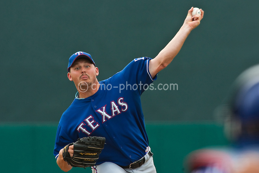 Mar 20, 2009; Tucson, AZ, USA; Texas Rangers pitcher Matt Harrison throws a pitch in the bottom of the 4th inning of a spring training game against the Colorado Rockies at Hi Corbett Field.  The Rangers defeated the Rockies 11-5.