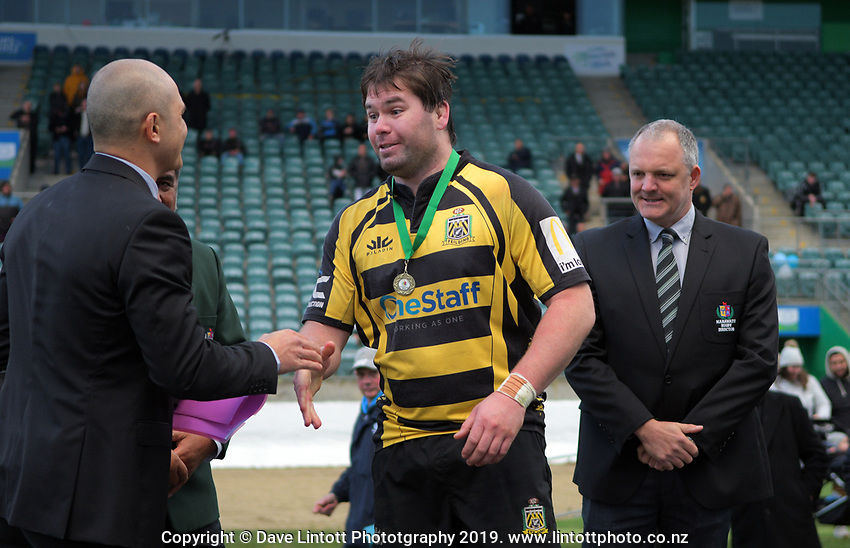 Yellows captain Hayden Stratford after the 2019 Manawatu premier club rugby Hankins Shield final match between Varsity and Feilding Yellows at CET Arena in Palmerston North, New Zealand on Saturday, 13 July 2019. Photo: Dave Lintott / lintottphoto.co.nz