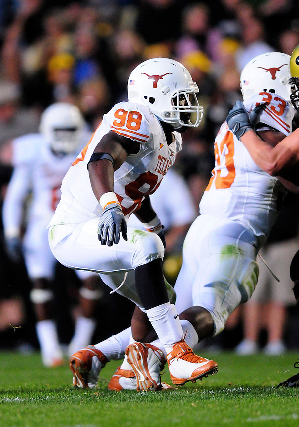 04 October 2008: Texas defensive end Brian Orakpo on a play against Colorado. The Texas Longhorns defeated the Colorado Buffaloes 38-14 at Folsom Field in Boulder, Colorado. For Editorial Use Only