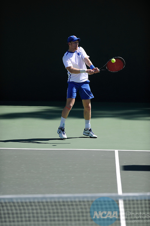 27 APR 2014:  Boise State University takes on the University of New Mexico during the 2014 Mountain West Conference Men's Tennis Championship held at the Sierra Racquet and Sports Club held in Fresno, CA.  Justin Tafoya/NCAA Photos