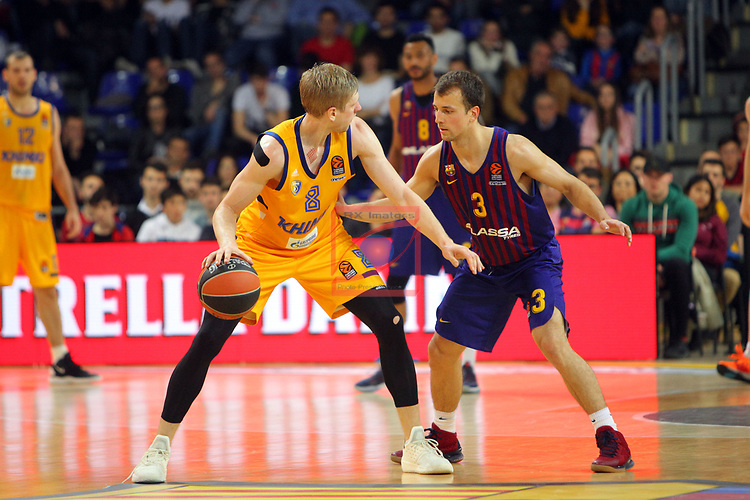 Turkish Airlines Euroleague 2018/2019. <br /> Regular Season-Round 30.<br /> FC Barcelona Lassa vs Khimki Moscow Region: 83-74. <br /> Vyacheslav Zaytsev vs Kevin Pangos.
