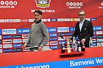 14.04.2018, BayArena, Leverkusen , GER, 1.FBL., Bayer 04 Leverkusen vs. Eintracht Frankfurt<br /> im Bild / picture shows: <br /> Pressekonferenz (PK) nach dem Spiel,  Trainer / Headcoach Niko Kovic (Eintracht Frankfurt),  und Dirk Mesch Pressesprecher Bayer 04 Leverkusen betreten den Raum <br /> <br /> <br /> Foto &copy; nordphoto / Meuter
