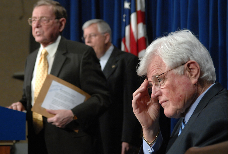 From left, Sens. Pete Domenici, R-N.M., Mike Enzi, R-Wyo., and Ted Kennedy, D-Mass., conduct a news conference to introduce the Mental Health Parity Act of 2007, which is mental health legislation that would ensure greater health insurance parity fro persons with mental illness.