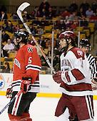Louis Liotti (NU - 5), Doug Rogers (Harvard - 15) - The Northeastern University Huskies defeated the Harvard University Crimson 3-1 in the Beanpot consolation game on Monday, February 12, 2007, at TD Banknorth Garden in Boston, Massachusetts.