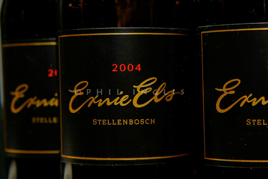 Ernie Els 2004 Vintage wine bottles on display during the 2008 Dubai Desert Classic, Emirates GC, Dubai, UAE.<br /> Picture Credit / Phil Inglis