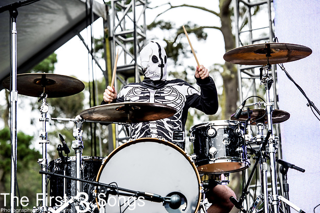 Josh Dun of twenty | one | pilots performs at the Outside Lands Music & Art Festival at Golden Gate Park in San Francisco, California.