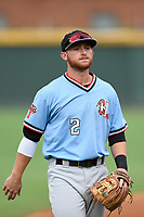 Shortstop Ryan Dorow (2) of the Hickory Crawdads before a game against the Greenville Drive on Monday, July 23, 2018, at Fluor Field at the West End in Greenville, South Carolina. Hickory won, 6-1. (Tom Priddy/Four Seam Images)