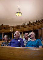 From left, Kathleen Hall (cq), Sherwood Hall (cq), Brad White (cq), and Susan Hall (cq) at the Tabernacle, which was the original conference hall for Mormon gatherings, at Temple Square in Salt Lake City, Utah, Monday, October 1, 2012. ..Photo by Matt Nager