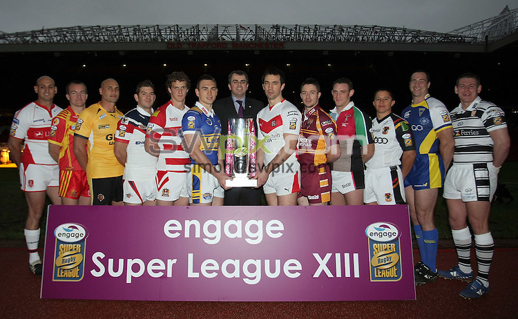 PICTURE BY VAUGHN RIDLEY/SWPIX.COM - Rugby League - Super League 2008 Season Media Launch - Old Trafford, Manchester, England - 29/01/08...Copyright - Simon Wilkinson - 07811267706..Super League Captains - Hull KR's Michael Vella, Catalan's Casey McGuire, Castleford's Awen Guttenbeil, Wakefield's Jason Demetriou, Wigan's Sean O'Loughlin, Leeds Kevin Sinfield, St. Helens Paul Sculthorpe, Huddersfield's Chris Thorman, Harlequins Rob Purdham, Bradford's Paul Deacon, Warrington's Adrian Morley and Hull FC's Lee Radford.  Engage Chief Executive (C), Andrew Haigh.