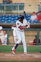 Mahoning Valley Scrappers George Valera (12) at bat during a NY-Penn League game against the Hudson Valley Renegades on July 15, 2019 at Eastwood Field in Niles, Ohio.  Mahoning Valley defeated Hudson Valley 6-5.  (Mike Janes/Four Seam Images)