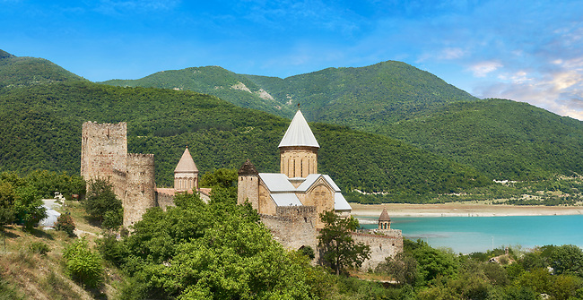 Pictures & images of the Ananuri castle complex & Georgian Orthodox churches, 17th century, Georgia (country).<br /> <br />  Ananuri castle is situated next to the Military Road overlooking the Aragvi River in Georgia, about 45 miles (72 kilometres) from Tbilisi. It was the castle of the eristavis (Dukes) of Aragvi from the 13th century and was the scene of numerous battles. In 2007 Ananuri castle was enscribed on the   UNESCO World Heritage Site tentative list.