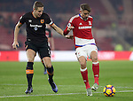 Michael Dawson of Hull City tussles with Gaston Ramirez of Middlesbrough during the English Premier League match at Riverside Stadium, Middlesbrough. Picture date: December 5th, 2016. Pic Jamie Tyerman/Sportimage