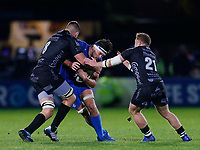 1st November 2019; RDS Arena, Dublin, Leinster, Ireland; Guinness Pro 14 Rugby, Leinster versus Dragons; Max Deegan of Leinster is tackled by Taine Basham of Dragons - Editorial Use