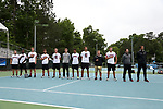 CHAPEL HILL, NC - MAY 12: South Carolina's players and coaches line up for the playing of the national anthem. From left: Gabriel Friedrich (BRA), Yancy Dennis, Harrison O'Keefe, Thomas Mayronne, Andrew Schafer, Wood Benton, Paul Jubb (ENG), Sam Swank, trainer Patrick Sarni, Alex Fennell, assistant coach Kyle Bailey, and head coach Josh Goffi. The University of South Carolina Gamecocks played the East Tennessee State University Buccaneers on May 12, 2017, at The Cone-Kenfield Tennis Center in Chapel Hill, NC in an NCAA Division I Men's College Tennis Tournament first round match. South Carolina won 5-0.