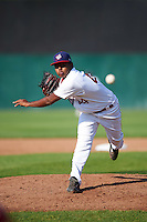 Auburn Doubledays starting pitcher Yonathan Ramirez (44) delivers a pitch during a game against the Williamsport Crosscutters on June 26, 2016 at Falcon Park in Auburn, New York.  Auburn defeated Williamsport 3-1.  (Mike Janes/Four Seam Images)
