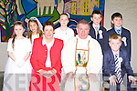 Pupils from Tiernaboul NS with Fr Nicolas Flynn and their teacher Sheila Foley after they received their First Holy Communion in the Church of the Ressurection, Killarney on Saturday morning front row l-r:Sheila Foley, Fr Nicolas Flynn and Jack O'Sullivan. Back row: Michaela Bingham, Elaena O'Donoghue, Aoibhe O'Doherty, James O'Brien and Sean O'Leary..