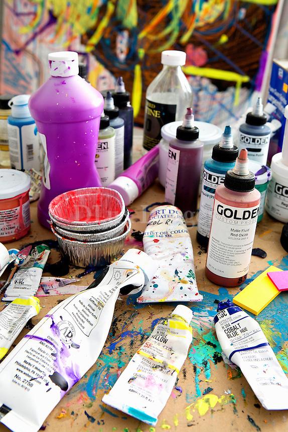close up of paints