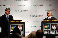 USA Bid Committee Chairman Sunil Gulati (R) listens to FIFA representative Harold Mayne-Nicholls (L) during a press briefing at the St. Regis Hotel in New York, NY, on September 07, 2010.