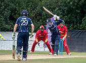 Cricket Scotland - Scotland V Zimbabwe One Day International match at Grange CC today (Thur) - this match is the second of two ODI matches this week against Zimbabwe, and Scotland won the first encounter, on Thursday, by 26 runs - the end of Scotland's innings, all out for 169, as the wicket of tail-ender Chris Sole falls, bowled for 2 - picture by Donald MacLeod - 17.06.2017 - 07702 319 738 - clanmacleod@btinternet.com - www.donald-macleod.com
