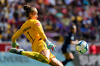 HARRISON, NJ - SEPTEMBER 29: Goalkeeper Kailen Sheridan #1 of Sky Blue FC during a game between Orlando Pride and Sky Blue FC at Red Bull Arena on September 29, 2019 in Harrison, New Jersey.