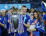 Leicester's Jamie Vardy celebrates with the trophy during the Barclays Premier League match at the King Power Stadium.  Photo credit should read: David Klein/Sportimage