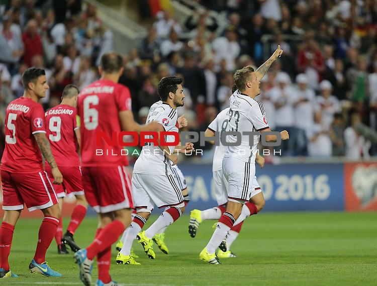 EM 2015 Qualifikationsspiel, Gibraltar vs. Deutschland<br /> Max Kruse (Deutschland) freut sich &uuml;ber sein Tor zum 2:0<br /> <br /> <br /> Foto &copy; nordphoto /  Bratic