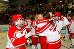 ADRIAN, MI - MARCH 18: Plattsburgh State University celebrate after winning the Division III Women's Ice Hockey Championship held at Arrington Ice Arena on March 19, 2017 in Adrian, Michigan. Plattsburgh State defeated Adrian 4-3 in overtime to repeat as national champions for the fourth consecutive year. by Tony Ding/NCAA Photos via Getty Images)