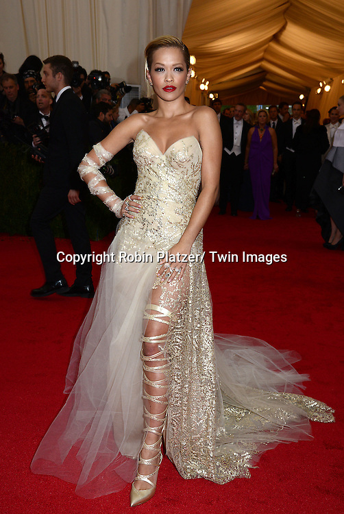 Rita Ora attends the Costume Institute Benefit on May 5, 2014 at the Metropolitan Museum of Art in New York City, NY, USA. The gala celebrated the opening of Charles James: Beyond Fashion and the new Anna Wintour Costume Center.