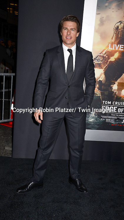 "Tom Cruise attends the ""Edge of Tomorrow"" New York Fan Premiere on May 28, 2014 at the AMC Lincoln Square Theatre in New York City."