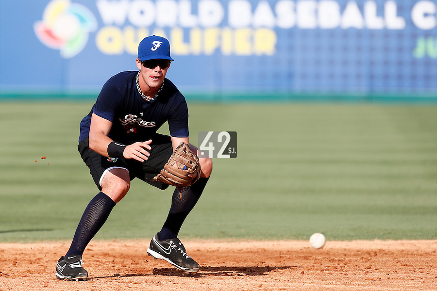 18 September 2012: France Emmanuel Garcia eyes the ball during Team France practice, at the 2012 World Baseball Classic Qualifier round, in Jupiter, Florida, USA.