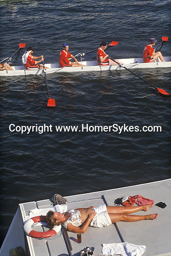 The English summer social season. The annual Henley Royal Rowing Regatta. Henley on Thames, Berkshire, England