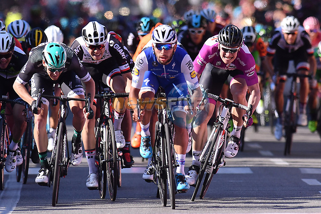 Fernando Gaviria (COL) Quick-Step Floors sprints for the line to win Stage 5 of the 100th edition of the Giro d'Italia 2017, running 159km from Pedara to Messina, Sicily, Italy. 10th May 2017.<br /> Picture: LaPresse/Gian Mattia D'Alberto | Cyclefile<br /> <br /> <br /> All photos usage must carry mandatory copyright credit (&copy; Cyclefile | LaPresse/Gian Mattia D'Alberto)
