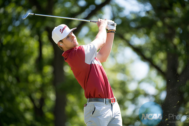 SUGAR GROVE, IL - MAY 31: Rylee Reinertson of the University of Oklahoma tees off during the Division I Men's Golf Team Championship held at Rich Harvest Farms on May 31, 2017 in Sugar Grove, Illinois. Oklahoma won the team national title. (Photo by Jamie Schwaberow/NCAA Photos via Getty Images)