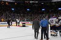 June 12, 2019: The Stanley Cup Trophy is brought out at the conclusion of game 7 of the NHL Stanley Cup Finals between the St Louis Blues and the Boston Bruins held at TD Garden, in Boston, Mass. The Saint Louis Blues defeat the Boston Bruins 4-1 in game 7 to win the 2019 Stanley Cup Championship.  Eric Canha/CSM