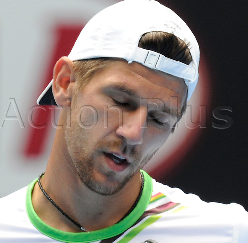 24.01.2011 Australian Open Tennis from Melbourne Park. Jurgen Melzer of Austria shakes his head in frustration after losing a point in his match against Andy Murray of Great Britain on day eight of the 2011 Australian Open at Melbourne Park, Melbourne, Australia.