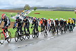 The peloton during a wet miserable 105th edition of Li&egrave;ge-Bastogne-Li&egrave;ge 2019, La Doyenne, running 256km from Liege to Liege, Belgium. 28th April 2019<br /> Picture: Colin Flockton | Cyclefile<br /> All photos usage must carry mandatory copyright credit (&copy; Cyclefile | Colin Flockton)