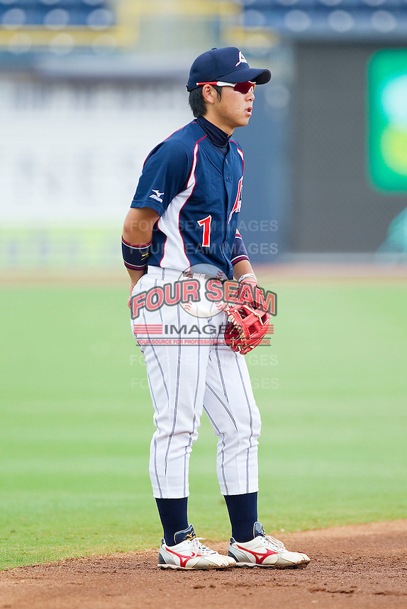 Shortstop Daichi Suzuki #1 of the Japan Collegiate National Team on defense against the USA Baseball Collegiate National Team at the Durham Bulls Athletic Park on July 3, 2011 in Durham, North Carolina.  USA defeated Japan 7-6.  (Brian Westerholt / Four Seam Images)