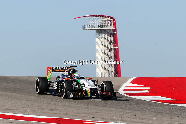 SERGIO PEREZ (11) driver of the Sahara Force India F1 Team car in action  during the last practice before the Formula 1 United States Grand Prix race at the Circuit of the Americas race track in Austin,Texas.