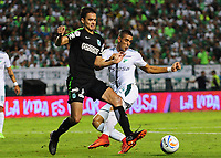 PALMIRA - COLOMBIA, 02-05-2018: Pablo Sabbag (Der) del Deportivo Cali disputa el balón con Felipe Aguilar (Izq) de Atlético Nacional durante partido por la fecha 14 de la Liga Águila II 2017 jugado en el estadio Palmaseca de Cali. / Pablo Sabbag (R) player of Deportivo Cali fights for the ball with Felipe Aguilar (L) player of Atletico Nacional during match for the date 14 of the Aguila League II 2017 played at Palmaseca stadium in Cali.  Photo: VizzorImage/ Nelson Rios / Cont