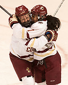 Caitrin Lonergan (BC - 11), Kristyn Capizzano (BC - 7) - The Boston College Eagles defeated the Northeastern University Huskies 2-1 to win the Beanpot on Monday, February 7, 2017, at Matthews Arena in Boston, Massachusetts.