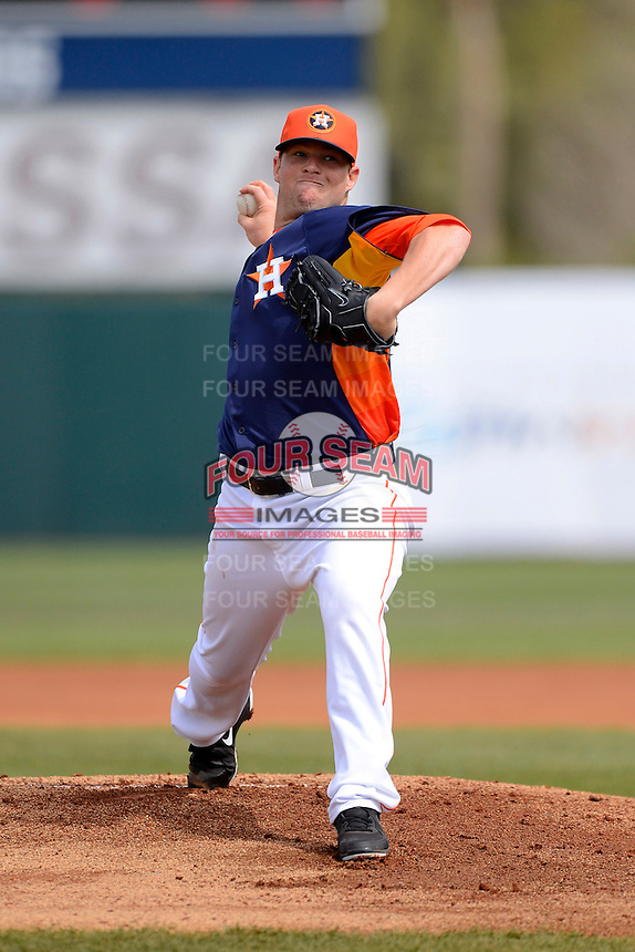 Houston Astros pitcher Bud Norris #20 during a Spring Training game against the St. Louis Cardinals at Osceola County Stadium on March 1, 2013 in Kissimmee, Florida.  The game ended in a tie at 8-8.  (Mike Janes/Four Seam Images)